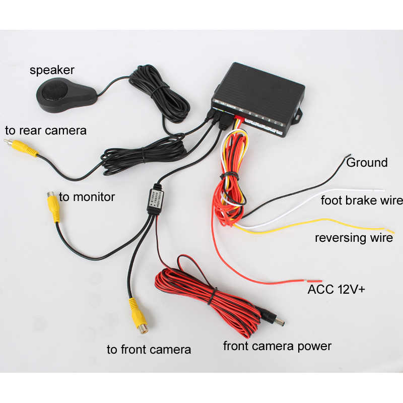d150cd5985e ... Dual Channel Car Video Parking Radar Sensor Front Rear 6 Flat Sensors 2  Video Input For ...