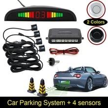 Car Auto LED Display Reverse Backup Radar System Buzzing Sound Warning with 4 Parking Sensors