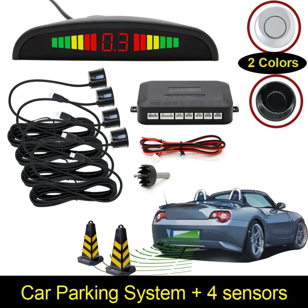 Авто LED Дисплей обратный резервный радар Системы жужжащий звук Предупреждение с 4 Сенсоры парковочные