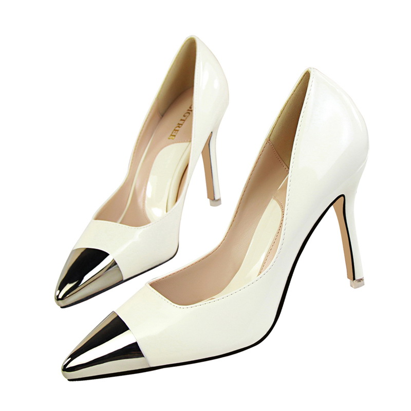 712fbd8564e 7 Colors Mirror Patent PU Women Thin High Heel Nude Pumps Sexy Pointed  Special Toe Elegant Wedding Party Shoes Short Stock on Aliexpress.com