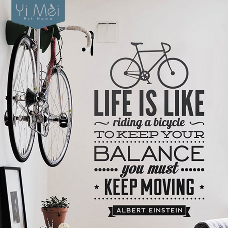 Stickers in wall stickers from home amp garden on aliexpress com - Life Is Like Riding A Bicycle Quote Sport Diy Vinyl Art