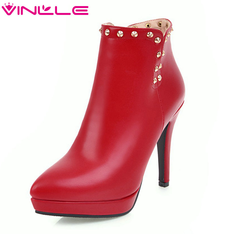 VINLLE 2018 Women Shoes Ankle Boots Thin High Heel PU leather Rivet Black Pointed Toe Ladies Motorcycle Shoes Size 34-43 esveva 2018 women boots zippers black short plush pu lining pointed toe square high heels ankle boots ladies shoes size 34 39
