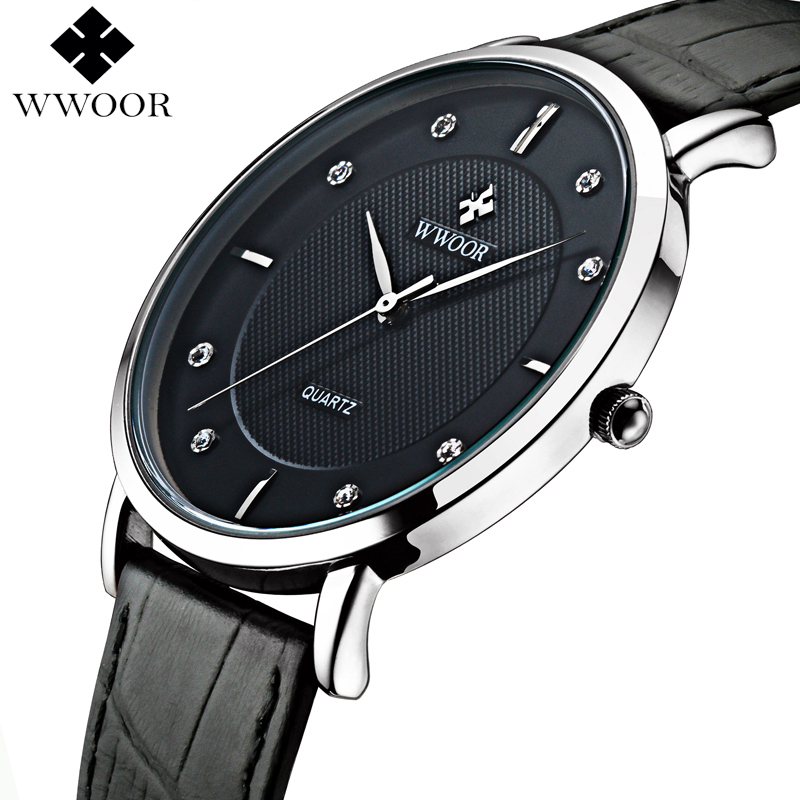 WWOOR Brand Luxury Men's Watches Waterproof Ultra Thin Simple Quartz Watch Men Leather Strap Sports Wrist Watch Male Black Clock