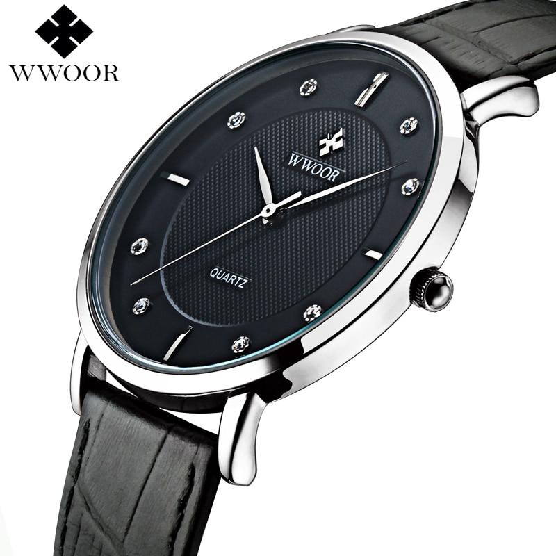 WWOOR Brand Luxury Men's Watches Waterproof Ultra Thin Simple Quartz Watch Men Leather Strap Sports Wrist Watch Male Black Clock