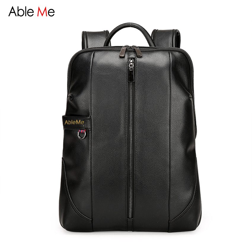AbleMe 2017 Fashion Men Laptop Bag Backpack PU Leather Zipper Backpack College Student Schoolbag Large Capacity Men Bags men backpack student school bag for teenager boys large capacity trip backpacks laptop backpack for 15 inches mochila masculina