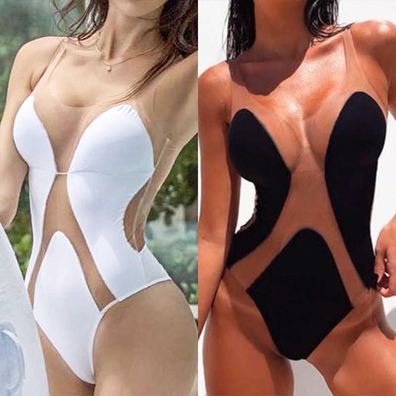 Sexy biquíni transparente 2019 plus size mulheres banho monokini alta corte maiô feminino uma peça de verão preto xl