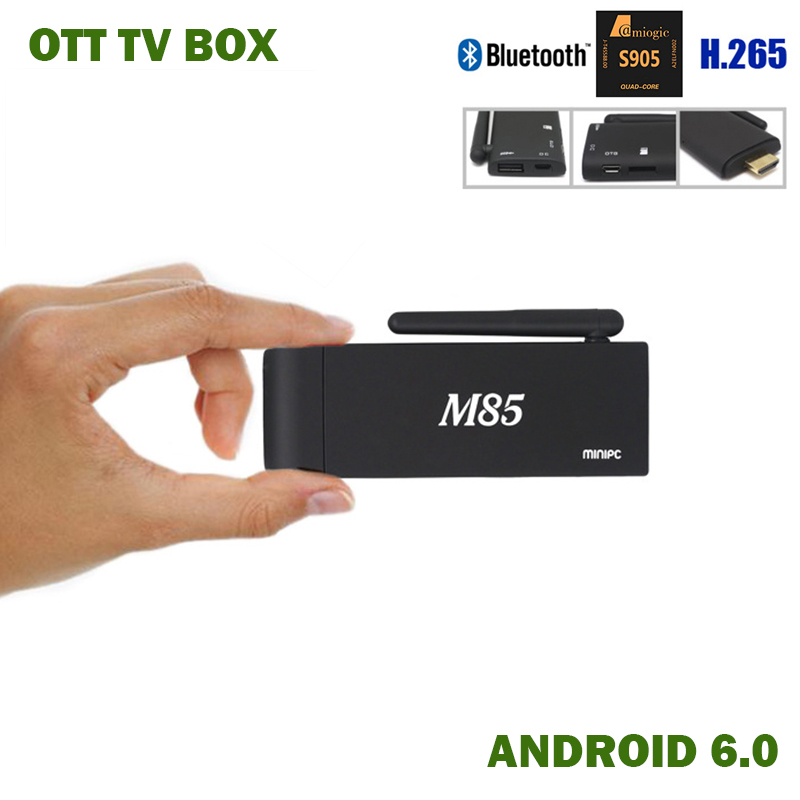 M85 Android 6.0 TV BOX S905 Quad Core CPU HDMI sortie affichage ANDROID TV DONGLE MINI SET TOP BOX Smart Android TV bâton