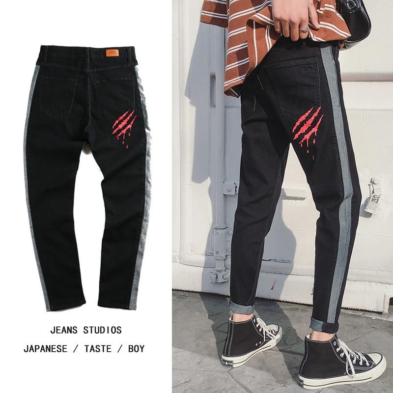 2018 New Fashion Men Straight Jeans Mens Trend Bound Feet Elastic Force Stretch Denim Pants Mens Wear Printing Thrasher Pants