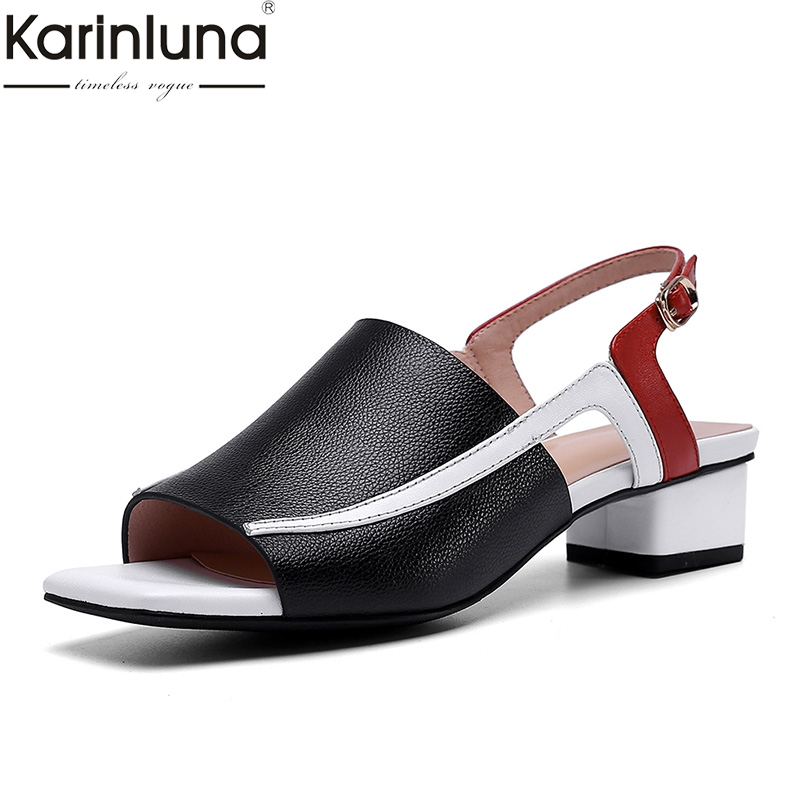 Karinluna Brand Big Size 40 Mixed Colors Cow Leather Low Heels Women Shoes Woman Casual Party Office Summer SandalsKarinluna Brand Big Size 40 Mixed Colors Cow Leather Low Heels Women Shoes Woman Casual Party Office Summer Sandals