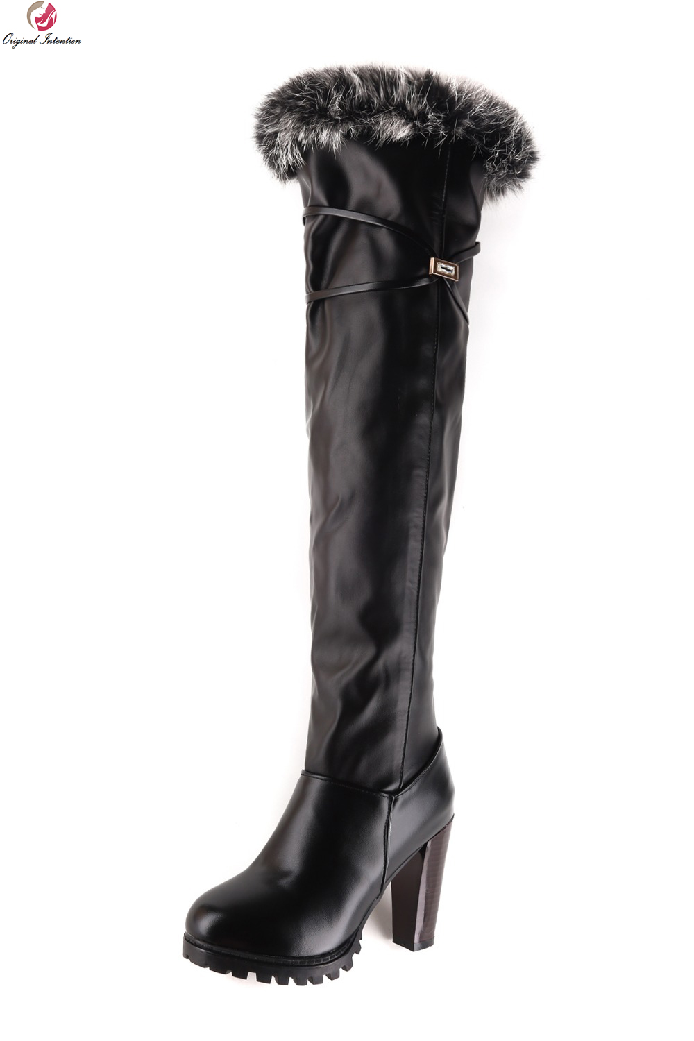 Original Intention Women Over the Knee Boots Fashion Round Toe Square Heels Winter Boots Black White Shoes Woman US Size 3.5-13 anmairon high heels lace charms shoes woman over the knee boots zippers round toe long boots size 34 39 black winter boots shoes
