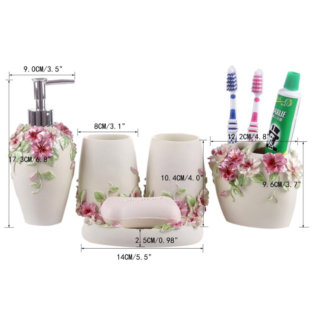 HOMESTIA 5 Pcs Elegant Flowers Resin Bathroom Accessories Set ...