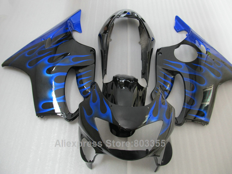 цена на Fairing kit For Honda CBR 600 f4 1999 2000 / 99 00 ( Blue flames + black ) cbr600 Injection mold fairings xl84