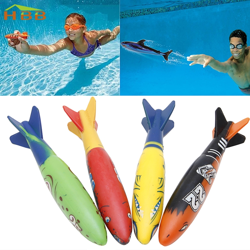 4 Pieces Swimming Pool Toys Diving Sport Outdoor Toypedo Bandits Play Water Fun #046