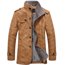 Mens Winter Jacket Men PU Leather Motorcycle Warm Jackets Plus S-8XL velvet Windbreaker Male Casual Long Coat Park male