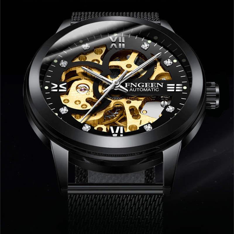 FNGEEN Number Sport Design Bezel Golden Watch Mens Watches Top Brand Luxury Montre Homme Clock Men Automatic Skeleton WristWatch