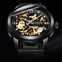 FNGEEN numer wzór sportowy Bezel złoty zegarek męskie zegarki Top marka luksusowy zegar Montre Homme mężczyźni automatyczny szkielet zegarek