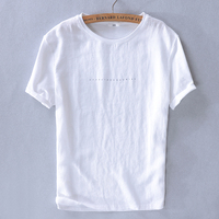 2019 Design brand t shirts men linen summer white men t-shirt fashion causal round neck tshirt mens tops camisa chemise