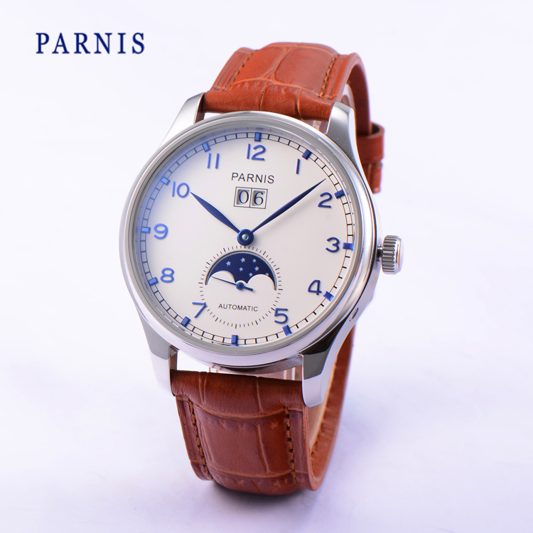 42mm Parnis Auto Date Automatic Power Reserve Men s Mechanical Watch White Dial Blue Numbers PA4002