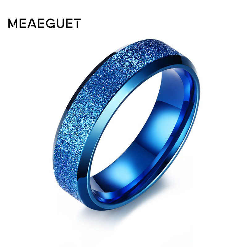 Meaeguet แหวนหมั้นสแตนเลสสำหรับผู้หญิงผู้ชายหมองคล้ำแหวนเครื่องประดับหญิงหมองคล้ำภาษาโปลิชคำเดียวแหวน 6 มม. ความกว้าง
