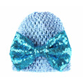 Elastic Hollow Fabric Hats With Big Bow For Infant Toddler baby Sequins Knotted Spring Caps Beanies
