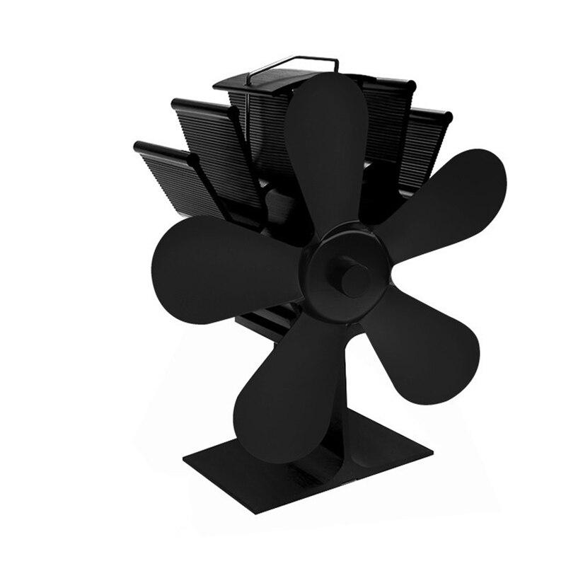 5 Blade Heat Fireplace FanPowered Stove Fan  Log Wood Burner Eco Friendly Quiet Fan Home Efficient Heat Distribution No Wire