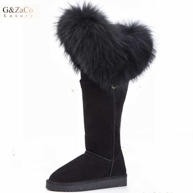 Knee High Snow Boots Natural Black Fox Fur Long Boots Cow Genuine Leather Waterproof Thick Warm Women Winter ShoesKnee High Snow Boots Natural Black Fox Fur Long Boots Cow Genuine Leather Waterproof Thick Warm Women Winter Shoes