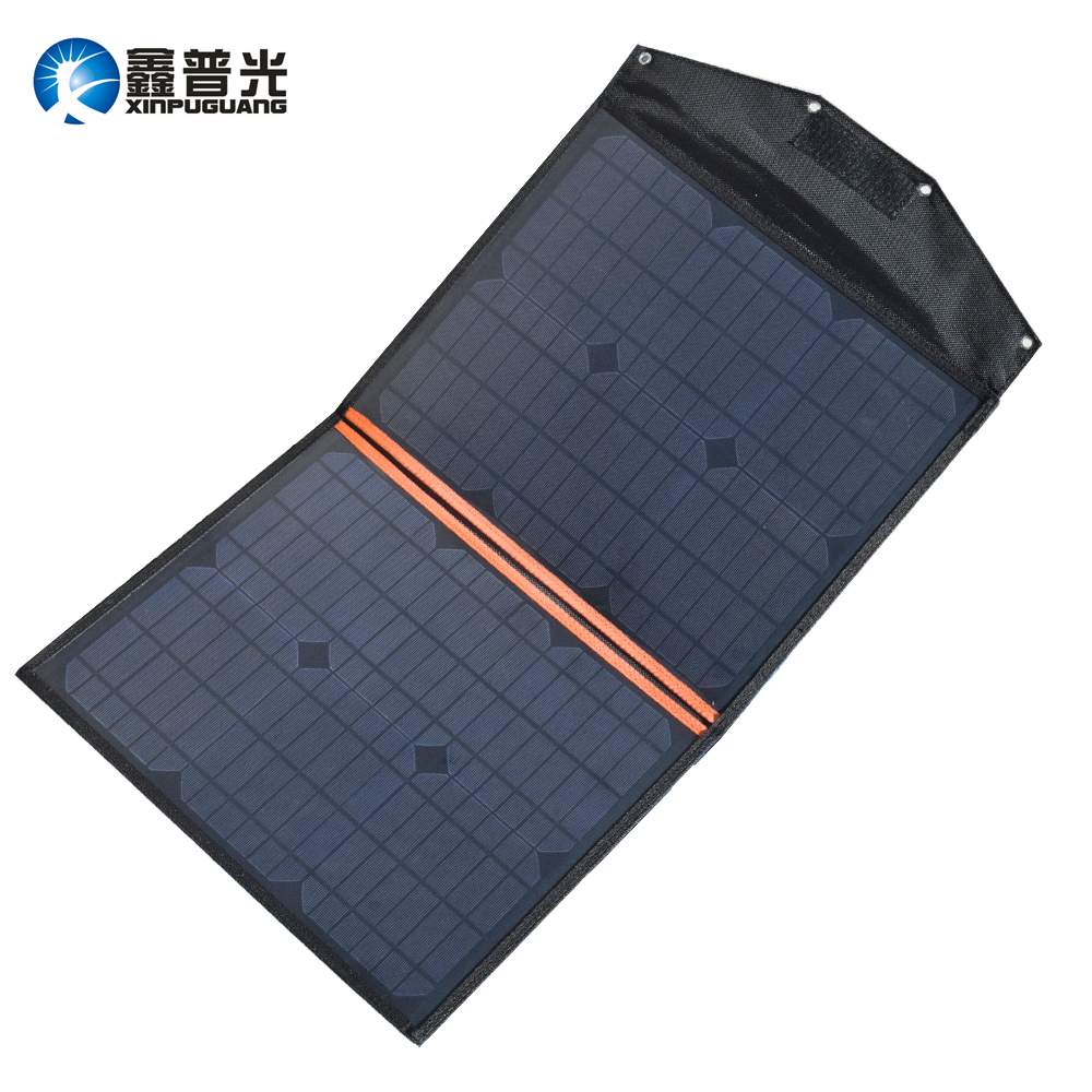 Xinpuguang Solar Charger 40W 18V 20W*2 Foldable Panel Bag 5V USB Output and 18V DC Output Portable for Smartphone Waterproof xinpuguang solar panel charger 100w 9v 18v foldable portable black fabric waterproof power bank phone 12v battery dual usb 5v 2a