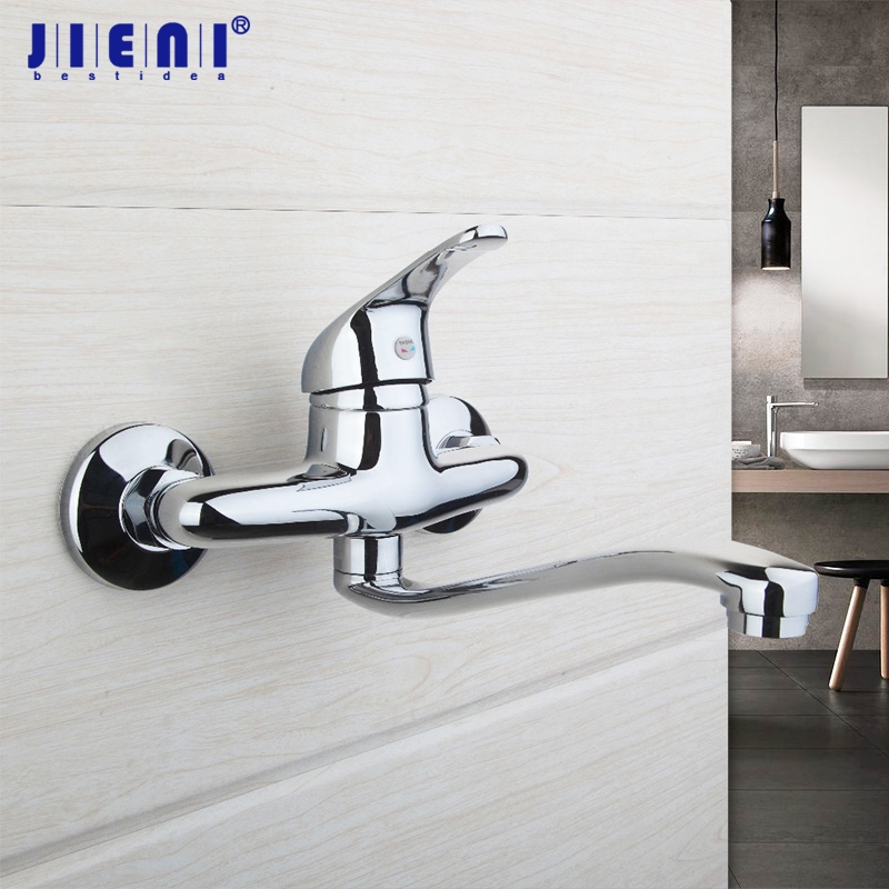 Chrome Brass Wall Mounted Faucet Bathroom Basin Sink Tap Hot & Cold ...