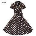 BFFUR черный Vintage dress 50 s Одри хепберн с коротким рукавом лебедь печати халат feminino Бальное Платье Ретро Платья SYSJ1127