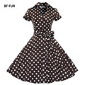 BFFUR  black Vintage dress 50s Audrey hepburn short sleeve swan print robe feminino Ball Gown Party Retro Dresses SYSJ1127