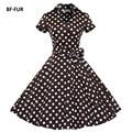 Bffur negro vintage dress 50 s audrey hepburn del cisne de manga corta bata de impresión feminino vestido de bola del partido vestidos retro sysj1127