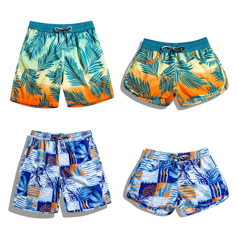 Matching Couple Beach Shorts Women Men Summer Gradient Leaves Print Surfing Swim Trunks Drawstring Boardshorts With Pockets 2019