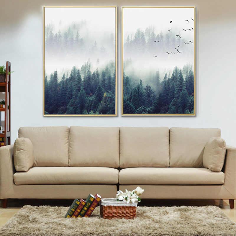 FGHGF скандинавский лесной пейзаж настенный Арт холст плакат и печать холст живопись декоративная картина для гостиной домашний декор