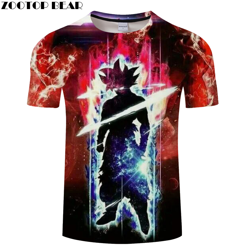 Lightning 3D tshirt Goku t shirts Men t-shirt Galaxy Tee Anime Top Streatwear Camiseta Boy Hip Hop Short Drop Ship ZOOTOPBEAR