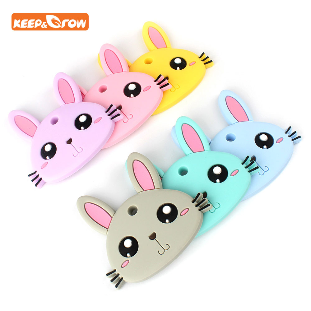 Keep&grow BPA Free 1Pc Baby Teethers Rabbit Shaped Silicone Teether Beads Food Grade Baby Teething Toys DIY Necklace Pendant