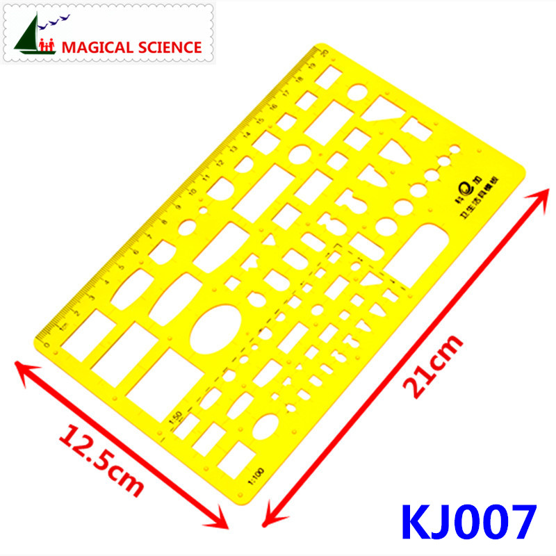 20cm Plastic Sanitary Ware Drawing Template Interior Design Superior Building Ruler For Students Designers KJ007