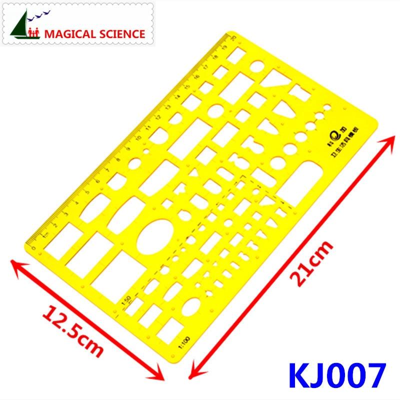 20cm Plastic Sanitary Ware Drawing Template Interior Design Superior Building Ruler For Students Designers KJ007