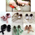 100% handmade Genuine Leather Mary Jane Ribbon baby shoes