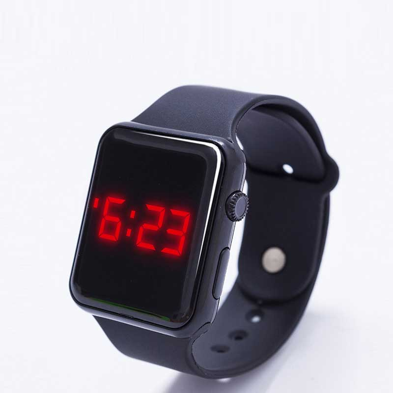 2016 New Hot Red LED electronic square Watch Silicone Mini children woman Bracelet Watches