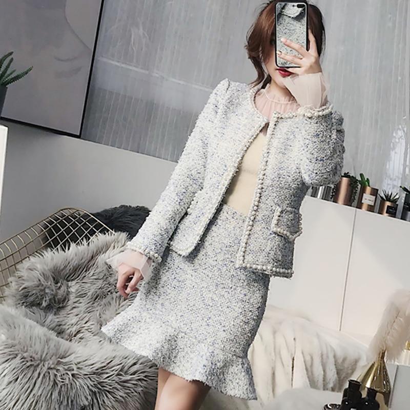Light Blue Tweed Jacket Skirt Suit 2019 Spring Autumn