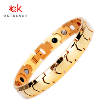Oktrendy Energy Healing Bracelet Stainless Steel Magnetic Therapy Bracelets Golg Charm Bangle