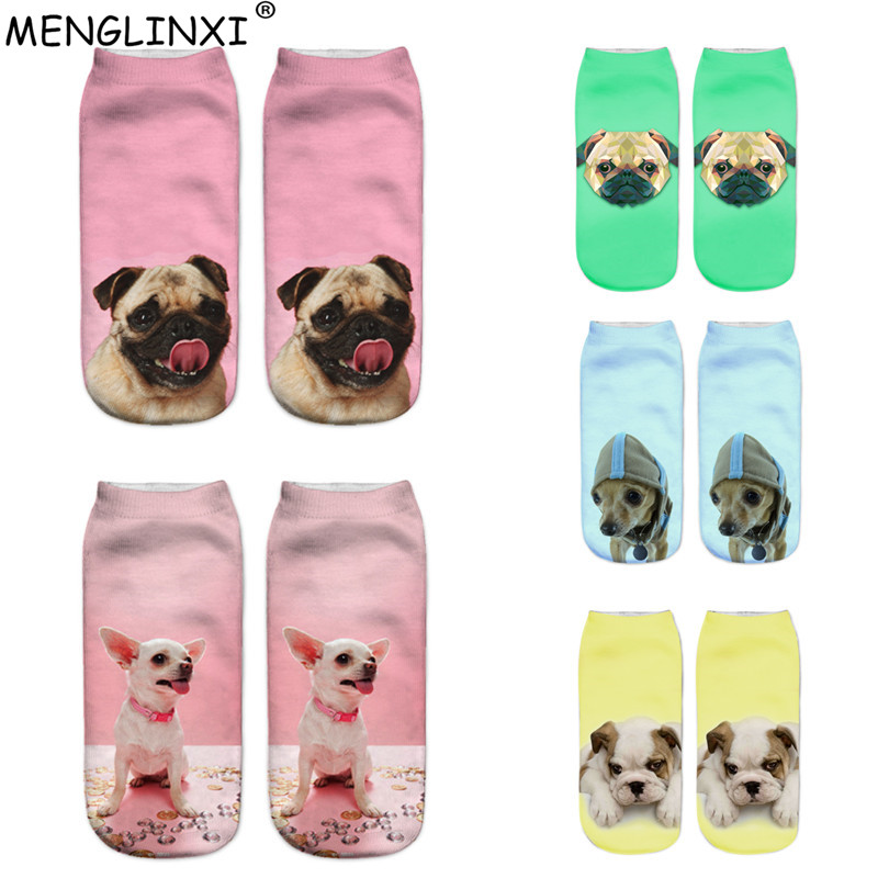 2018 New Hot Kawaii 3D Print   Socks   Women Harajuku Ankle Dogs Calcetines Female Chaussette Mujer Funny   Sock   Cute Emoji Short   Sock