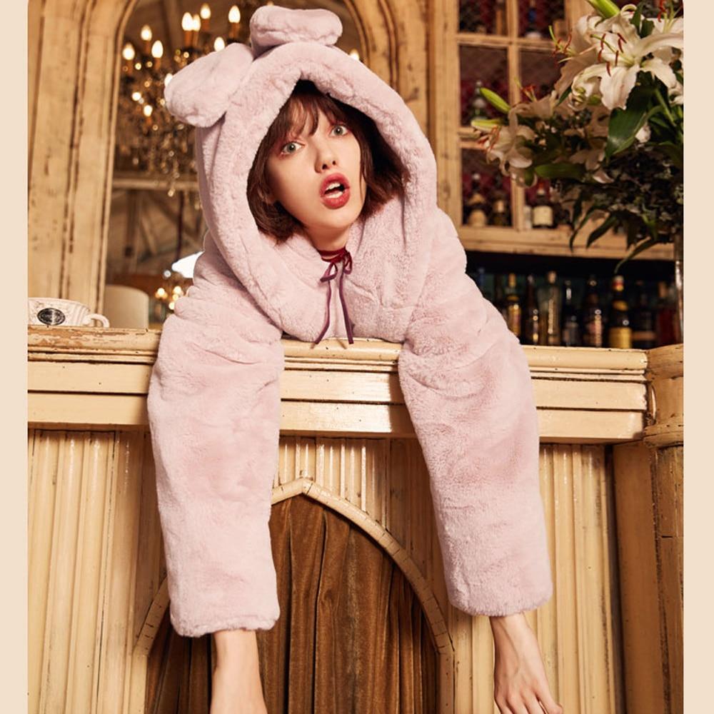 Lxunyi Femmes Chaud Lapin En Chat Avec Peluche Rose Gris Outwear Poches Droite Manteau 2018 Fourrure Oreille D'hiver Capuche À Veste FwSqFWUrTc
