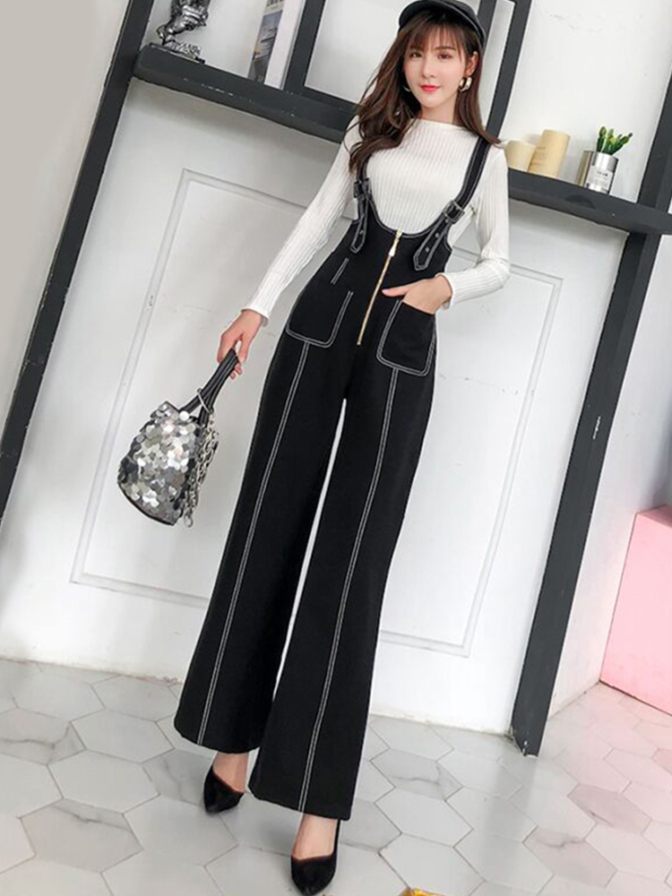 Women Spring High Waist Zipper Full Length Wide Leg Pants OL Lady Plus Size Loose Strap Braces Suspender Pants Overalls