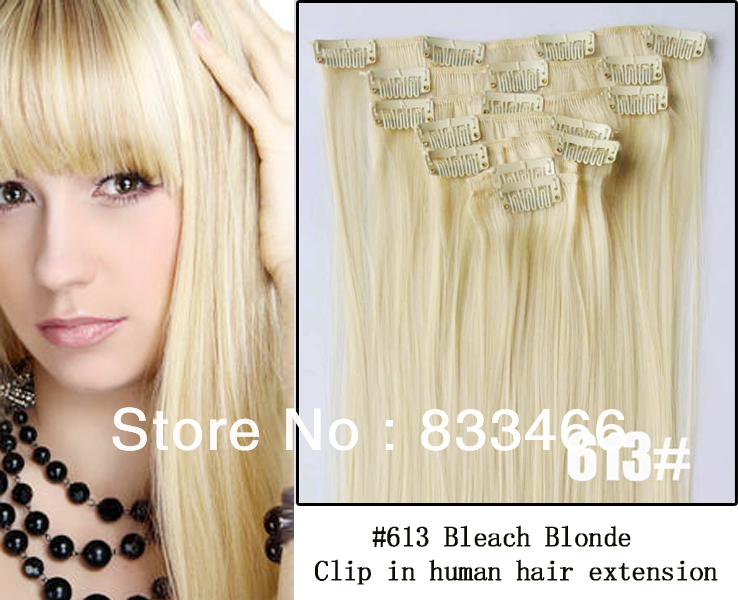 Remy human hair clip picture more detailed picture about top top selling 613 bleach blonde brazilian human remy clip in hair extensions 7pcsset pmusecretfo Image collections