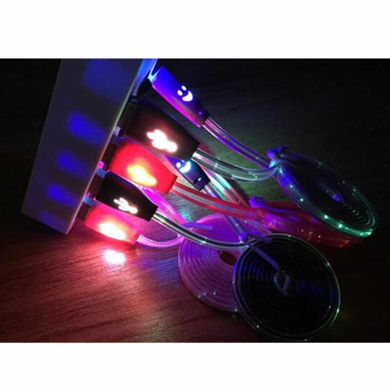 1 متر ابتسامة تنمو LED المصغّر usb كابل ضوء المعكرونة شقة مايكرو شاحن يو اس بي الحبل لسامسونج ل HTC آيفون 5 6S 7 8Plus X أندرويد