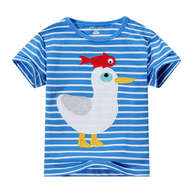 ce62079e5a02 Brand 2017 Summer Fashion Boys T Shirt Blue Stripped Animal Applique Short  Sleeve 1-6 Years Boy Kids T-shirts Clothes T0042