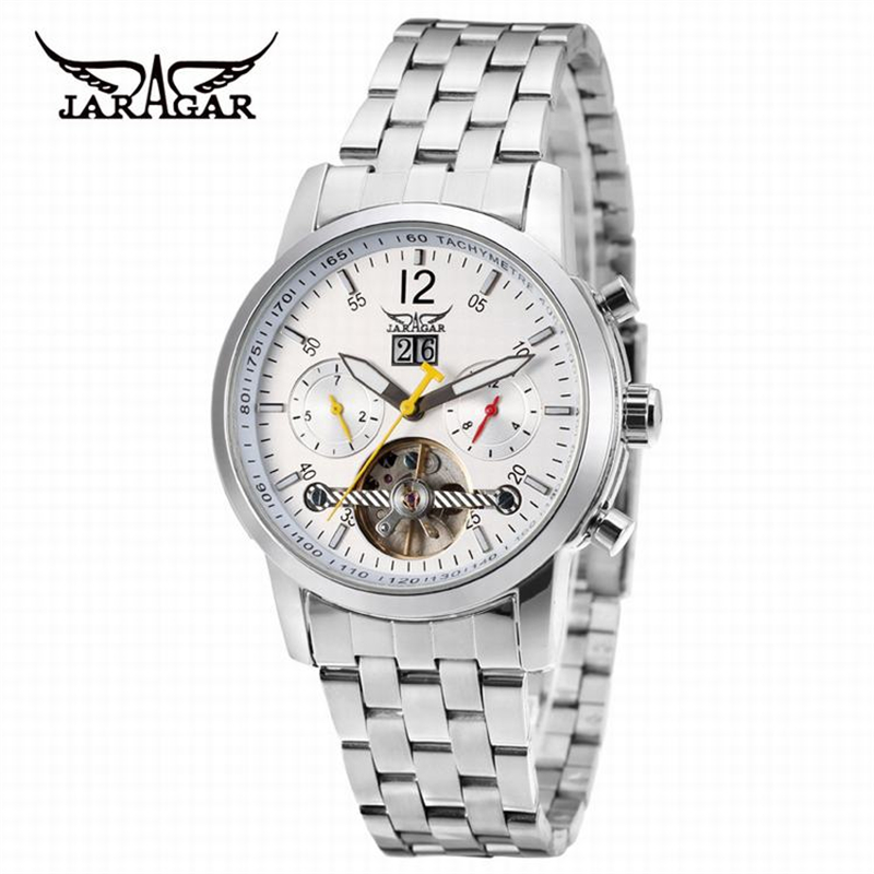 Jaragar Brand Automatic Tourbillon Stainless Steel Luxury Silver White Dial Clock Men Casual Mechanical Wristwatch Herren Uhren jaragar top brand tourbillon automatic mechanical diamond dial clock wtaches men classic luxury business leather wristwatch uhr
