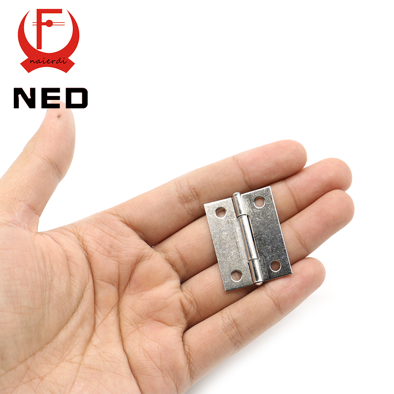 20pcs NED High Quality 1.5Inch Stainless Steel Mini Hinge 38mm*27mm Box Hinge 4 Holes Silver Cabinet Door Hinges mini stainless steel handle cuticle fork silver