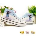 Olá kitty crianças shoes meninos meninas dos desenhos animados bob esponja pintados à mão canvas sneakers crianças shoes minions natal pikachu shoes